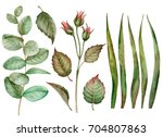Set Of Watercolor Leaves  Hand...