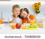 tired boy and girl fell asleep... | Shutterstock . vector #704808430