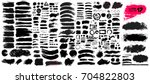 Stock vector big collection of black paint ink brush strokes brushes lines grungy dirty artistic design 704822803