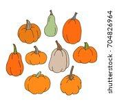 set of hand drawn pumpkins.... | Shutterstock .eps vector #704826964