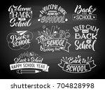 set of monochrome school labels.... | Shutterstock .eps vector #704828998
