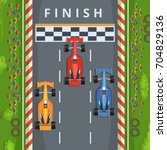 racing cars on finish line. top ... | Shutterstock .eps vector #704829136