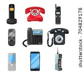 different telephones and...   Shutterstock .eps vector #704829178