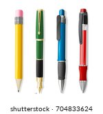 realistic 3d pen and pencil set ... | Shutterstock .eps vector #704833624