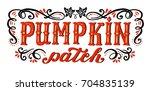 pumpkin patch. halloween poster ... | Shutterstock .eps vector #704835139