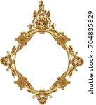 round photo frame  metal gold ... | Shutterstock .eps vector #704835829