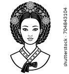 portrait of the young korean... | Shutterstock .eps vector #704843104