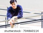 portrait a fashion handsome man ...   Shutterstock . vector #704860114