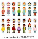 people winter characters stand... | Shutterstock .eps vector #704867776