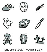 horror icons freehand 2 color | Shutterstock .eps vector #704868259