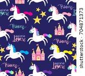 cute princess seamless pattern... | Shutterstock .eps vector #704871373