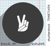 victory sign. peace fingers... | Shutterstock .eps vector #704871454
