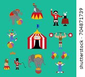 circus set on the green...   Shutterstock . vector #704871739