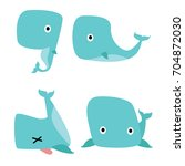 cute big chubby whale fish... | Shutterstock .eps vector #704872030