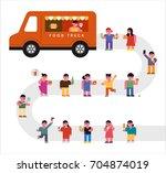 food truck and people vector...   Shutterstock .eps vector #704874019