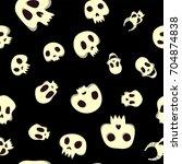 seamless halloween pattern with ...   Shutterstock .eps vector #704874838