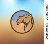 camel in desert illustration | Shutterstock .eps vector #704874880