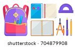 backpack for child with school... | Shutterstock .eps vector #704879908