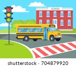 yellow bus stops before... | Shutterstock .eps vector #704879920