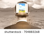 back view of businessman with... | Shutterstock . vector #704883268
