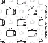 seamless antique television... | Shutterstock .eps vector #704886364