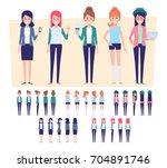 flat vector girls  for your... | Shutterstock .eps vector #704891746