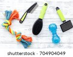 Stock photo grooming equipment with brushes and toys for care and training pet on white wooden background top 704904049