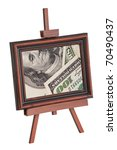 Easel with an image of dollars on a white background - stock photo