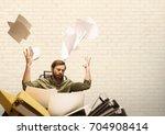 digital composite of frustrated ... | Shutterstock . vector #704908414