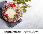 summer biscuit cake with fresh...   Shutterstock . vector #704910694