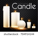 realistic candles burn with... | Shutterstock .eps vector #704914144