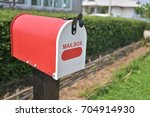 home office red metal mailbox... | Shutterstock . vector #704914930