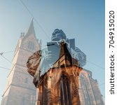 Small photo of Monument of the Reformer Martin Luther in Erfurt, Germany, Double exposure