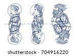 set of astronauts characters.... | Shutterstock .eps vector #704916220