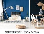 peaceful blue studio apartment... | Shutterstock . vector #704922406