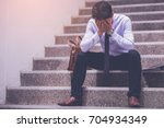 stressed businessman with... | Shutterstock . vector #704934349
