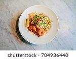 top view pad thai of thai food... | Shutterstock . vector #704936440