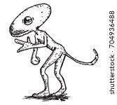 hand drawn cartoon alien | Shutterstock . vector #704936488