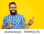 smiling bearded hipster man... | Shutterstock . vector #704942176