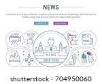 flat line illustration of news. ... | Shutterstock . vector #704950060