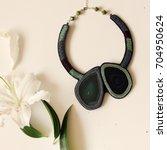 green agate statement necklace... | Shutterstock . vector #704950624