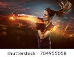 woman practices self defense | Shutterstock . vector #704955058