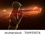 woman practices martial arts | Shutterstock . vector #704955076