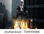 man on a rocket chair | Shutterstock . vector #704955088