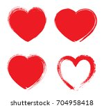 Set of grunge hearts.Vector heart shapes.