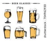 vector set of vintage beer... | Shutterstock .eps vector #704962930
