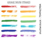 rainbow color paint brush... | Shutterstock .eps vector #704962984