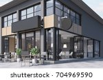 modern black and gray cafe... | Shutterstock . vector #704969590