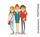 group of girls hugging | Shutterstock .eps vector #704970460
