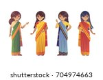 set of indian young women in... | Shutterstock .eps vector #704974663